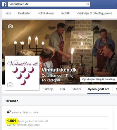 Over 1000 følger Vinbutikken.dk på Facebook