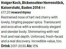 Master of Wine Anne Krebiehl fantastiske flotte anmeldelse af Holger Koch Herrenstück Pinot Noir