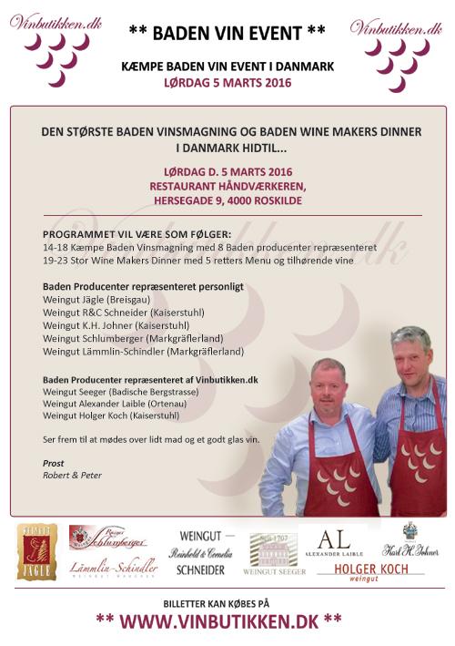 Kæmpe Baden Vin Event - Lørdag 5 Marts 2016 i Roskilde