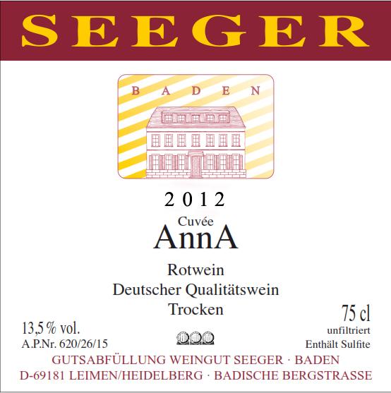 Weingut Seeger 2012 Seeger Cuvée AnnA|Bardische Bergstrasse|Baden|vinbutikken.dk
