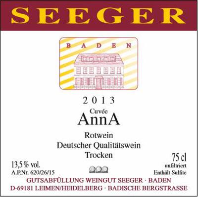 Weingut Seeger 2013 Seeger Cuvée AnnA|Bardische Bergstrasse|Baden|vinbutikken.dk